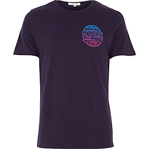 Purple East Side chest print t-shirt