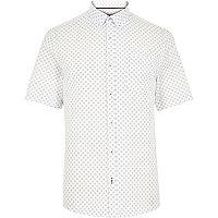 White cross print short sleeve shirt
