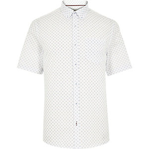 White cross print short sleeve shirt