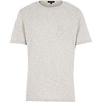 Ecru marl pocket short sleeve t-shirt
