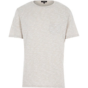 Ecru marl knitted t-shirt