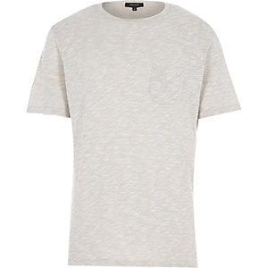 Ecru marl knitted t-shirt