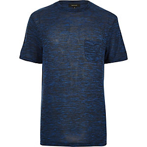 Navy blue marl woven short sleeve t-shirt