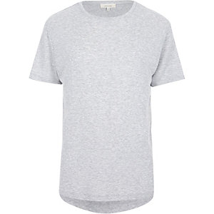 Grey ribbed curved hem t-shirt