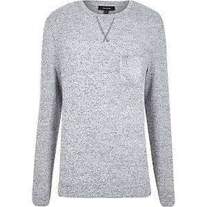 Grey marl long sleeve crew neck sweater