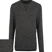 Black marl long sleeve top