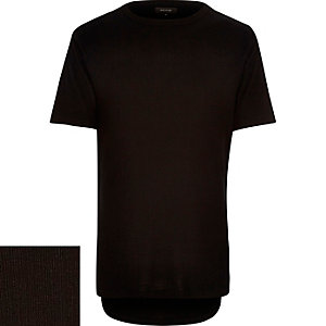 Plain black ribbed t-shirt