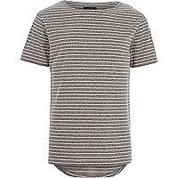 Grey fine stripe curved hem t-shirt