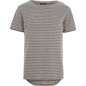 Grey fine stripe curved hem t-shirt
