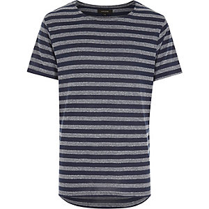Navy stripe curved hem short sleeve t-shirt