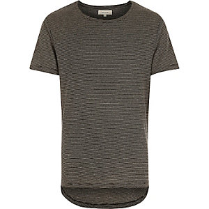 Black fine stripe curved hem t-shirt