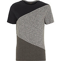 Grey block colour short sleeve t-shirt
