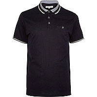 Navy blue contrast tipping polo shirt