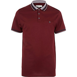 Dark red contrast tipping polo shirt
