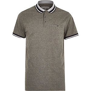 Grey contrast tipping polo shirt