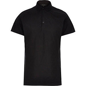 Black mesh front polo shirt