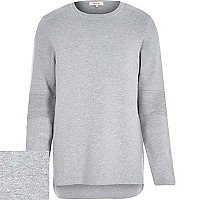 Light grey ribbed elbow curved hem jumper