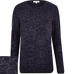 Navy marl long sleeve jumper