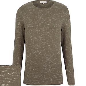 Dark green marl long sleeve jumper