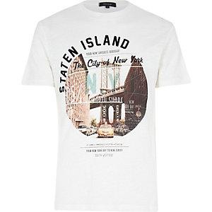 Ecru Staten Island print t-shirt