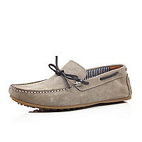 Stone suede driver shoes