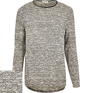 Grey marl curved hem jumper