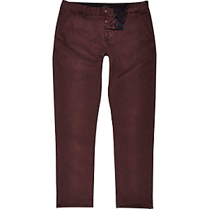 Dark red slim chino trousers