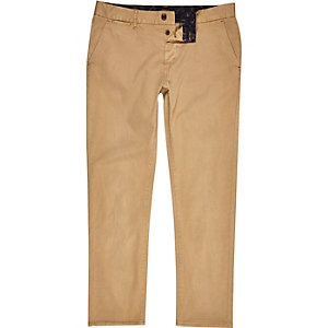Tan brown slim chino trousers
