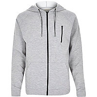 Grey zip pocket long sleeve hoodie
