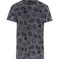 Grey racing print t-shirt