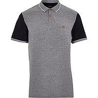 Navy block colour short sleeve polo shirt