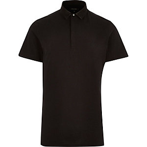 Black mesh collar polo shirt