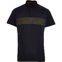 Navy printed panel polo shirt