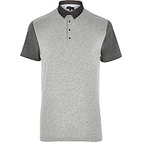 Grey colour block short sleeve polo shirt