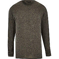 Grey marl slouchy crew neck top