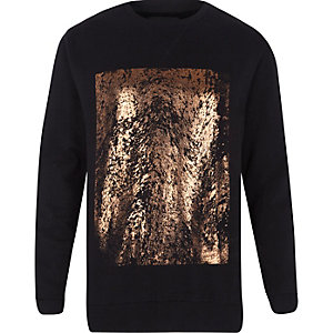 Black foil square print sweatshirt
