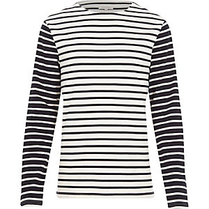 White stripe contrast sleeve sweatshirt