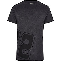 Dark grey 72 print zip trim t-shirt