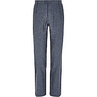 Blue Holloway Road linen blend suit trousers