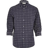 Navy grid check shirt