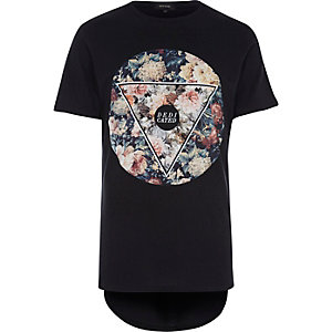 Black floral print curved hem t-shirt
