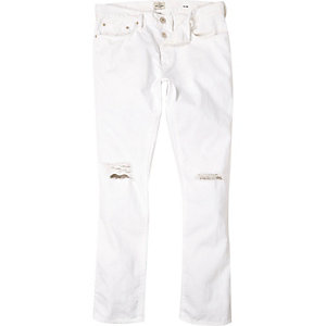 White ripped knee Dylan slim jeans