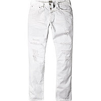 White distressed Dylan slim jeans