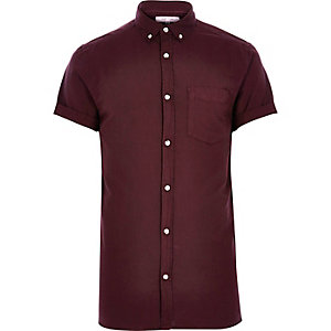Deep purple short sleeve Oxford shirt