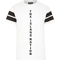 White Systvm the island nation slogan t-shirt