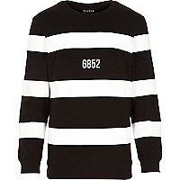 Black Systvm stripe 6852 print sweatshirt