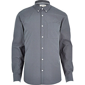 Grey micro print long sleeve shirt