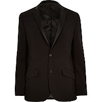 Black ottoman ribbed slim tux jacket
