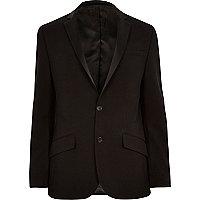 Black ottoman ribbed slim tux jacket