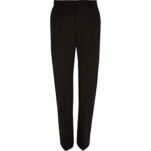 Black textured ribbed slim suit trousers